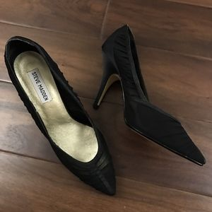 Steve Madden Pointed Toe Black Satin Sheer Heels